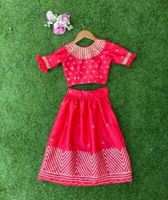 Embroidered Top And Sequin Work Lehenga For Kids