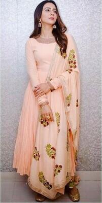 Rakul Preet Singh Bollywood Peach Color Georgette Festive Wear Suit