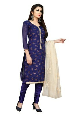 Party Wear Navy Blue Embroidery Cotton Silk Saalwar Suit