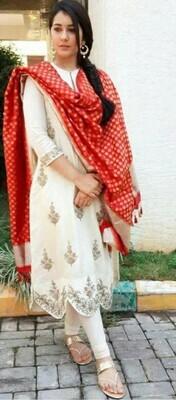 Raashi Khanna White Color Party Wear Suit