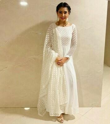 Stunning White Georgette Party Wear Salwar Suit