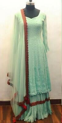 Georgette Sky Blue Color Party Wear Salwar Suit