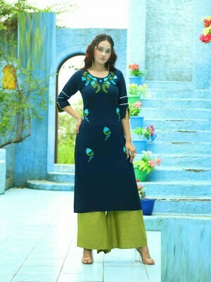 Green Color Embroidery Work Palazzo Suit