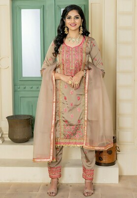 Latest Exotic Sepia Color Party Wear Embroidery Salwar  Suit
