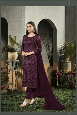 Amazing Dark Maroon Faux Georgette with Embroidery Party Wear Suit