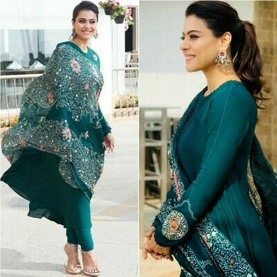 New Bollywood Rama Green Color Gown