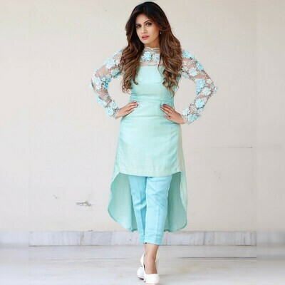 Party Wear Sky Blue Color Embroidery Work Suit