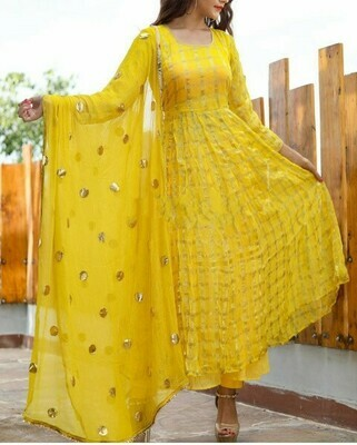 Woman's Stunning Preferable Yellow Color Party Wear Suit