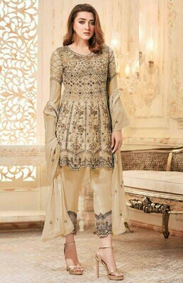Ravishing Embroidered  Pary Wear Creem Color Suit