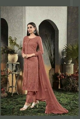 Beautiful Orange Color  Georgette With Embroidery Salwar Suit