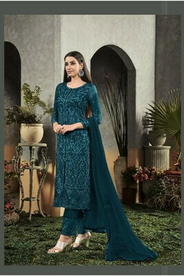 New Dark Peacock Color Georgette With Embroidery Exclusive Suit