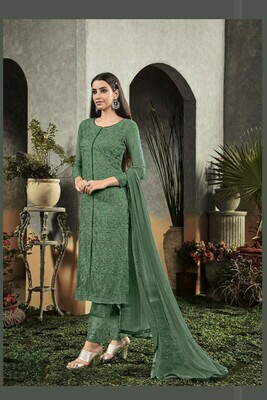 Latest Embroidery Georgette Party Wear Heavy Pista Color Suit