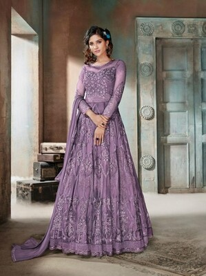 Jazzy Light Purple  Color Heavy Embroidery Suit