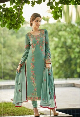 Embroidered Georgette Style Suit In Pastal Green