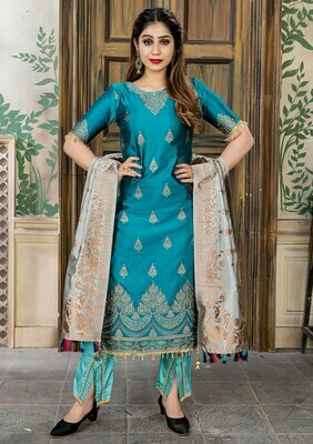 Good Looking Party Wear Steel Blue Color Banasari Jacquard Salwar Suit