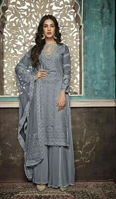 Ethnic Wonderful Entrancing Grey Color Party Wear Embroidery Suit