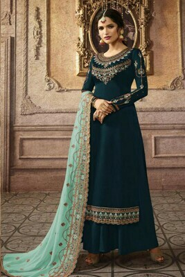 Stylish Dark Peacock Color Georgette With Embroidery Work Party Wear Plazzo Suit