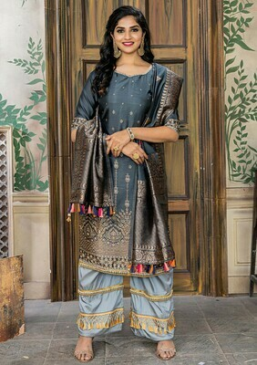 Mesmeric  Grey  Color Party Wear Banasari Jacquard Salwar Suit