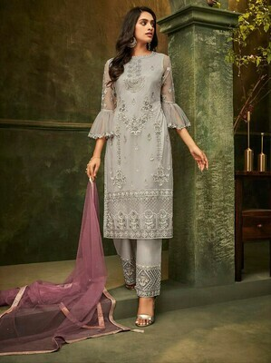Latest Gray Color Party Wear Embroidery Work Salwar Suit