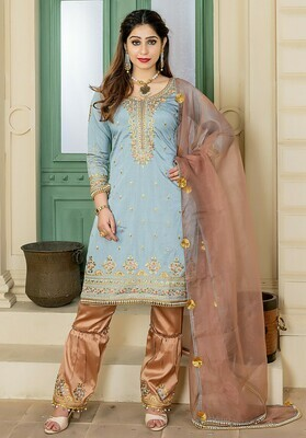 Trendy Ice Grey Color Embroidery Party Wear Sharara Suit