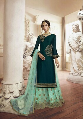 New Green Color Party Wear Embroidery Work Plazzo  Suit