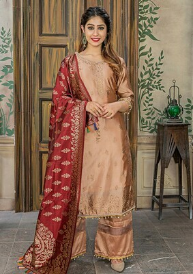 Engrossing Peach Color Banasari Jacquard Party Wear Salwar Suit