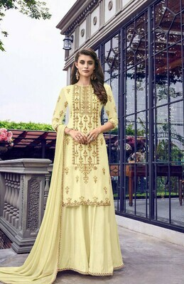 Indian Designer Yellow Color Sharara Suit