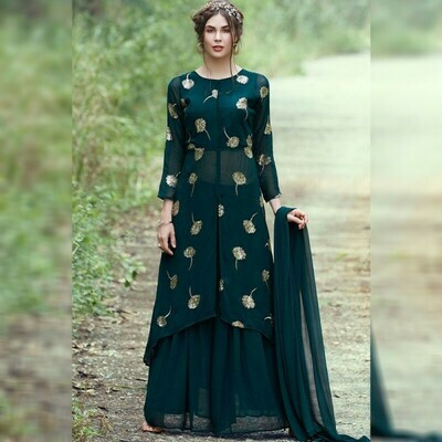 Breathtaking Dark GreenColor Party WearGeorgette  Suit