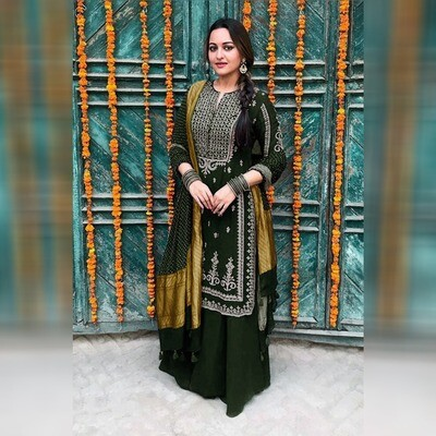 Sonakshi Sinha Green Sharara Suit
