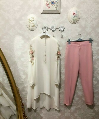 Lovely White Color Zam Cotton Top  Pink White Color  Pent
