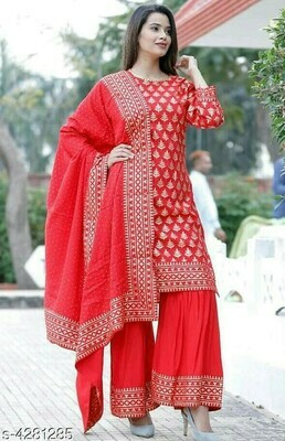 Party Wear Red Top and Palazzo with Heavy Embroidery Work
