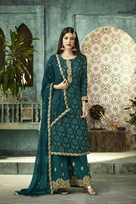 Stylish Designer Blooming Firozi Color Georgette Wedding �Plazzo  Suit