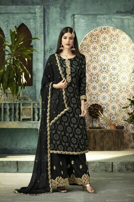 Stylish DesignerAdorable Black Color Georgette Party Wear Plazzo Suit