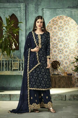 Ethnic Wonderful Fantastic Blue Color Georgette Party Wear Plazzo Suit