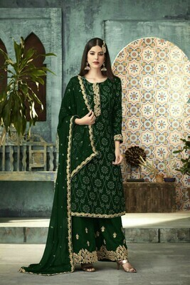 Stylish Designer  Captivating Green Heavy Faux Georgette Party Wear Plazzo Suit