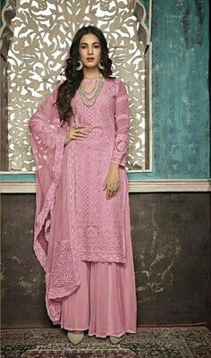 Stylish Designer Sophisticated Georgette With Embroidery Light Pink Color Suit
