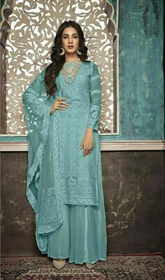 Stylish Designer Breathtaking Sky Color Georgette Party Wear Suit