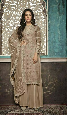 Stylish Designer Entrancing Party Wear Dark Creem Color Georgette With Embroidery Suit