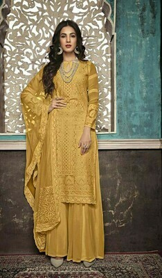 Stylish Designer Delightful Georgette Yellow Color Party Wear Suit