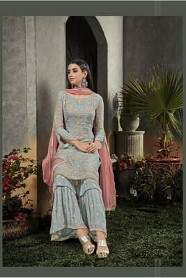 Wonderful Sky Blue Color Faux Georgette With Embroidery Salwar Suit