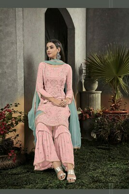 Stunning Baby Pink Faux Georgette Salwar Suit Party Wear