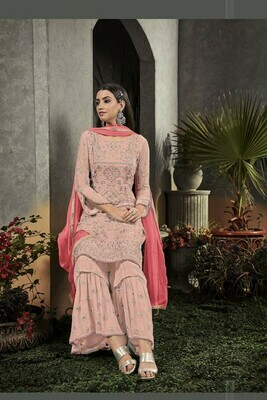 New Light Pink Georgette With Heavy Embroidery Wedding Wear  Salwar Suit