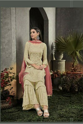 Amazing Heavy Faux Georgette With Embroidery Light Yellow Party Wear Salwar Suit