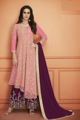 Attractive  Pink Color Heavy Net With Embroidery Work Plazzo Suit