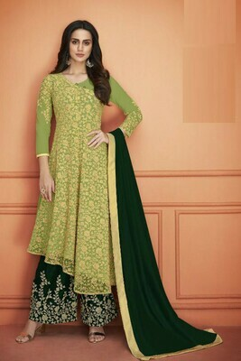 Stunning Light Green Color Heavy Net With Embroidery Work Plazzo Suit