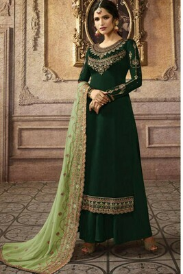 Glowing Green Color Heavy Faux Georgette Embroidery Plazzo Suit