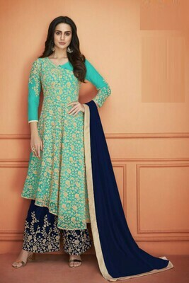 New Stylish Sea Green Color Heavy Net With Embroidery Work Plazzo Suit