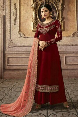 Beautiful Maroon Color Georgette With Embroidery Plazzo Suit