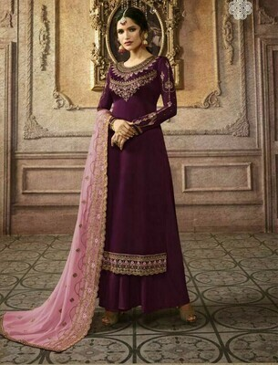 Gracefully Wine Color Georgette With Embroidery Work Plazzo Suit