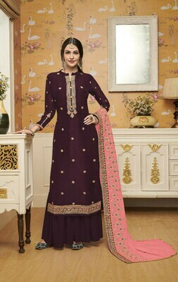 Stylish Designer Stunning Wine Color Embroidery Work Party Wear Suit
